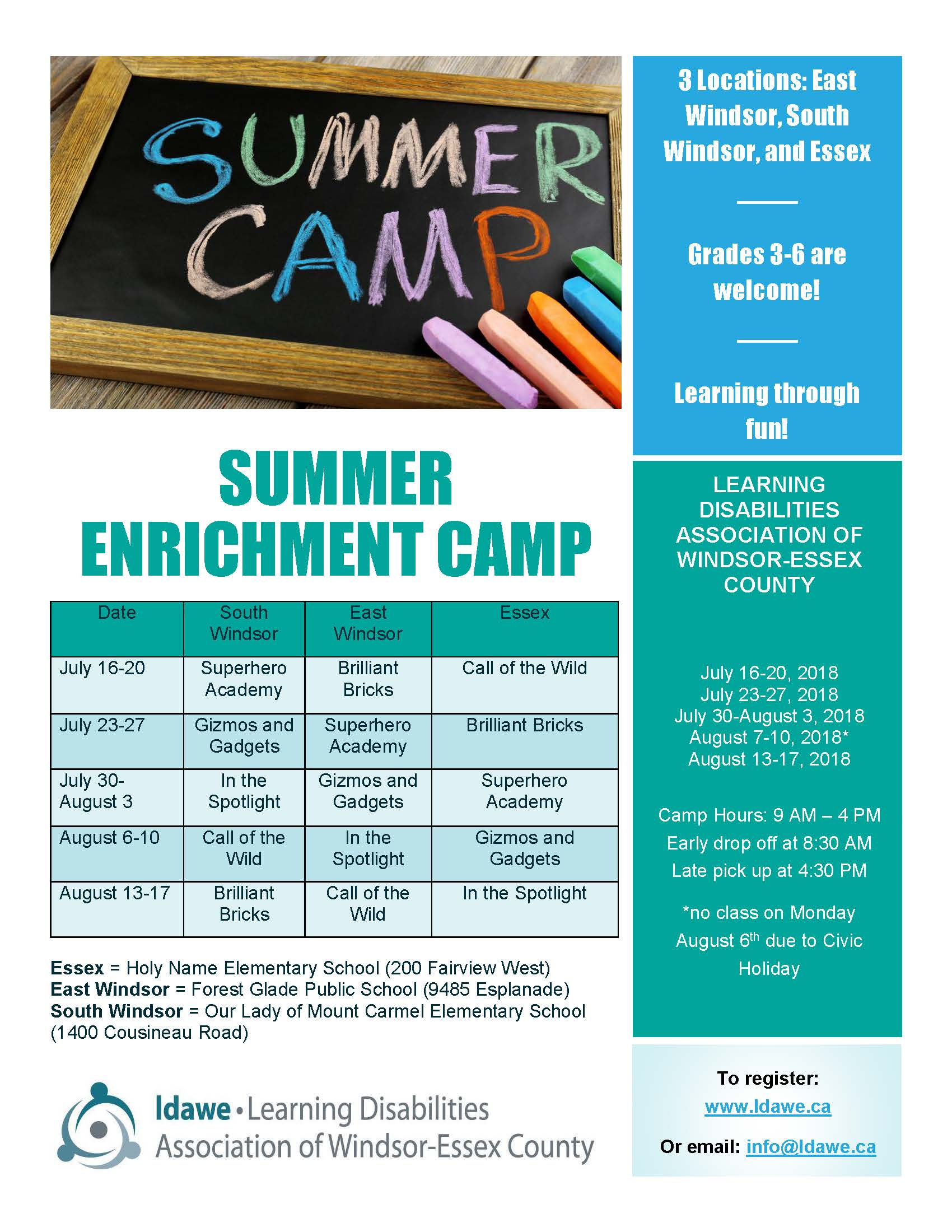 Learning Disabilities Association of Windsor-Essex - Summer Camps (3 locations in Windsor - Essex !) @ various locations in Windsor-Essex, please contact LDAWE