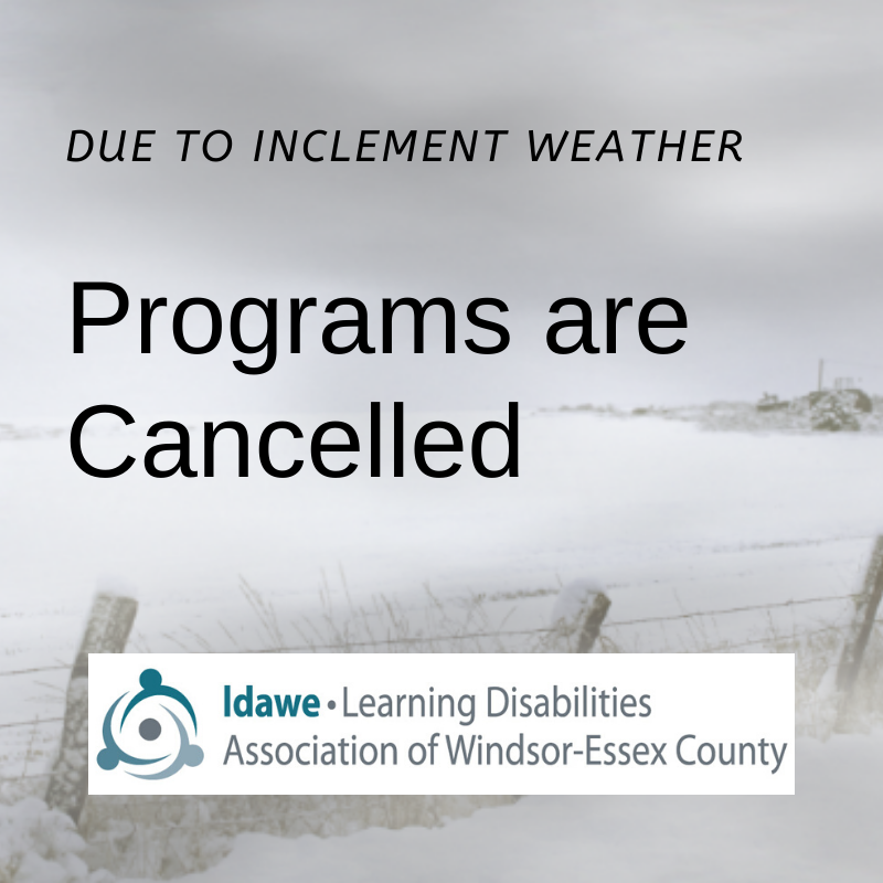 Programs Cancelled; Blowing snow